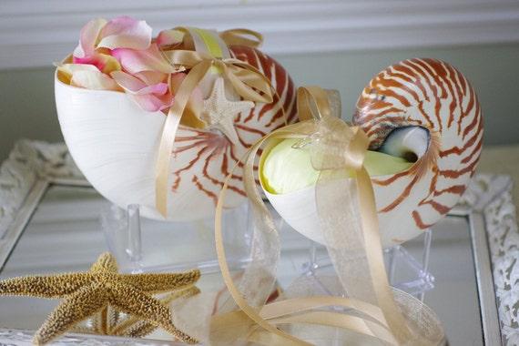 Beach Wedding Matching Nautilus Shell Eco Flower Girl Shell Basket and Nautilus Shell Ring Bearer Pillow
