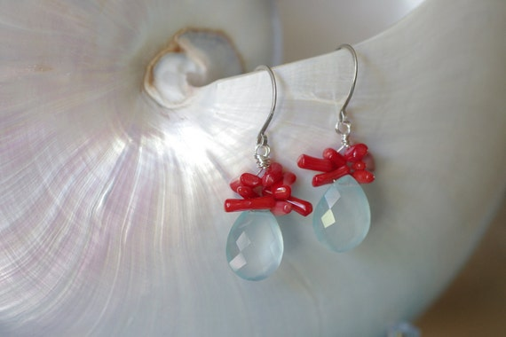 Aqua Chalcedony and Red Coral Beads Wirewrapped Sterling Silver Earrings - Aqua Blue and Red Coral