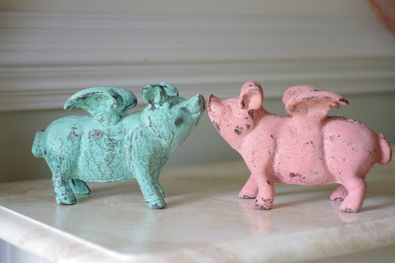 Home Decor Cast Iron Flying Pig Mint Green By
