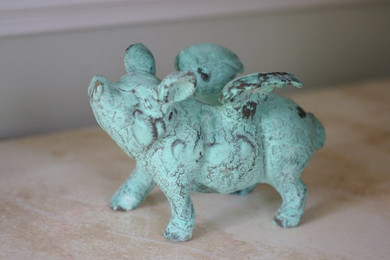 Home Decor Cast Iron Flying Pig - Seaside Pig