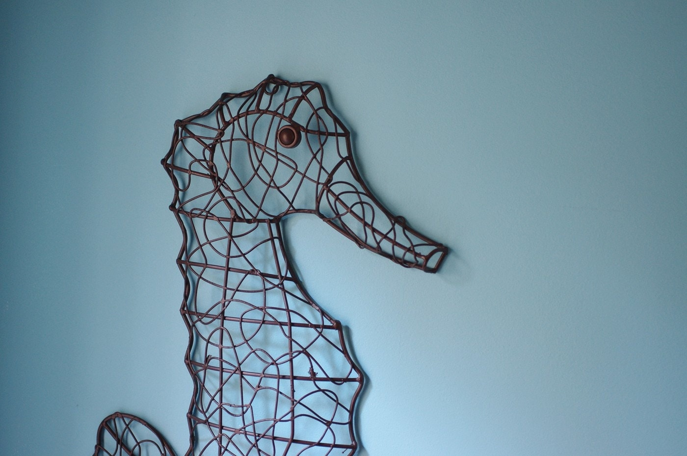Coastal Wall Decor: Coastal Wall Decor Metal Wire Seahorse Dark By