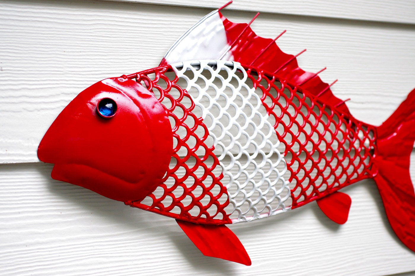 Nautical wall decor metal fish for the scuba by for Where can i buy nautical decor