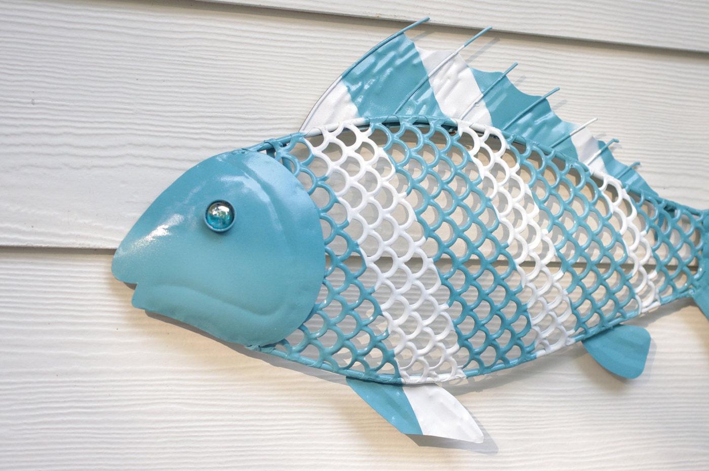 Beach Wall Decor Metal Fish Aqua And White By