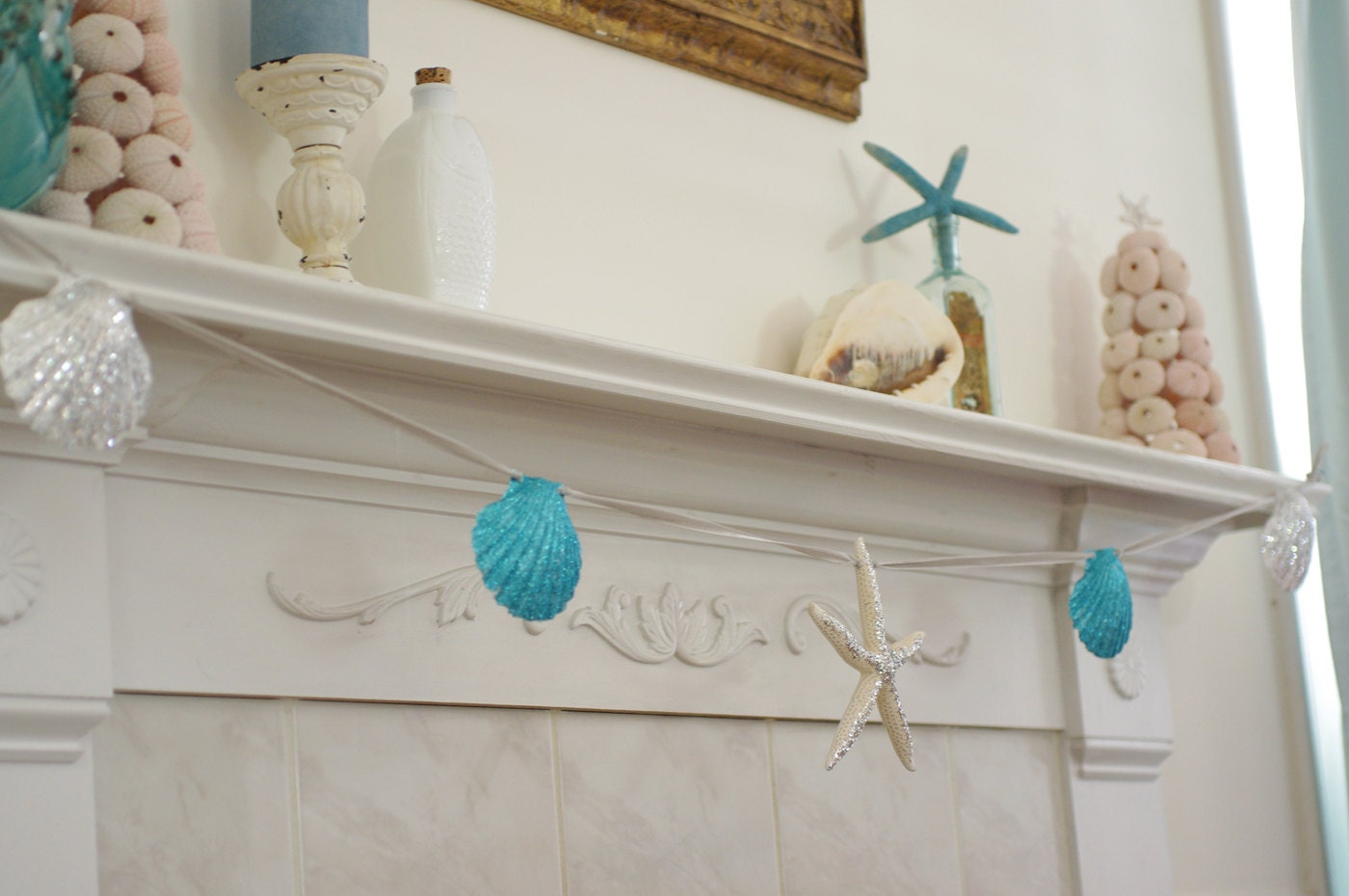 Beach Decor Mantel Fireplace Garland By ByTheSeashoreDecor