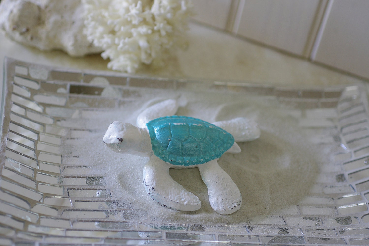 Beach Decor Cast Iron Baby Sea Turtle White And Metallic