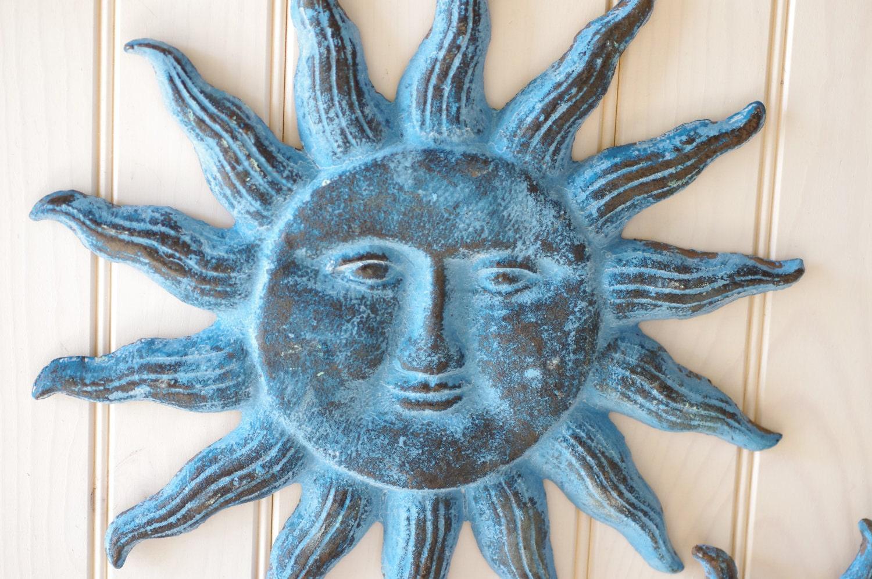 Cast iron sun face wall decor ocean blue for Sun wall art