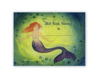 Mermaid Bookplate Set of 12 - Customizable