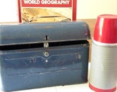 Metal School Lunch Box  and Thermos 1950 Vintage on Etsy