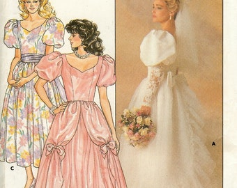 1980's Butterick 3685 Wedding Dress Pattern  Size 14 Bust 36 Princess costume