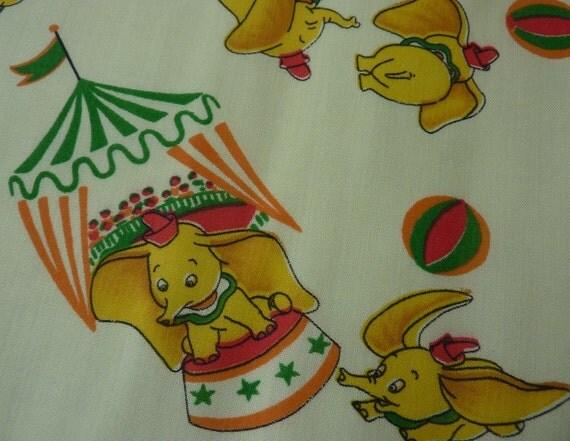 Vintage childrens fabric yellow elephant print 1970s 6 yards for Childrens elephant fabric