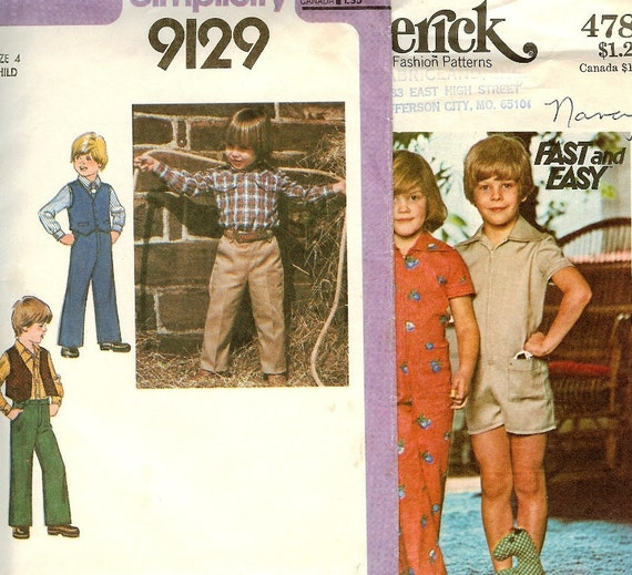 2 Vintage  Boys Patterns Cowboy Shirt , Jumpsuit ,Jeans, Vest, Size 4