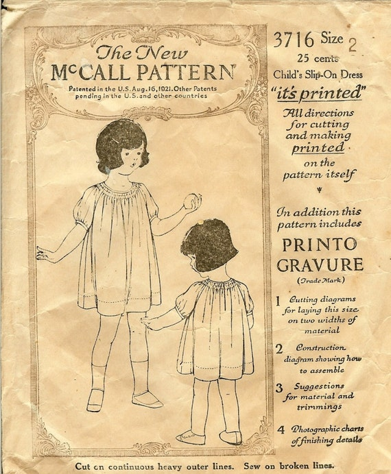 vintage 1920s Rare Child's Dress Pattern McCalls 3716 Size 2