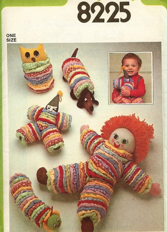 Yo Yo Toys for Tots Owl, Dog, Doll, Clown, Caterpillar 1970s Vintage Simplicity Pattern 8225 Clearance Sale