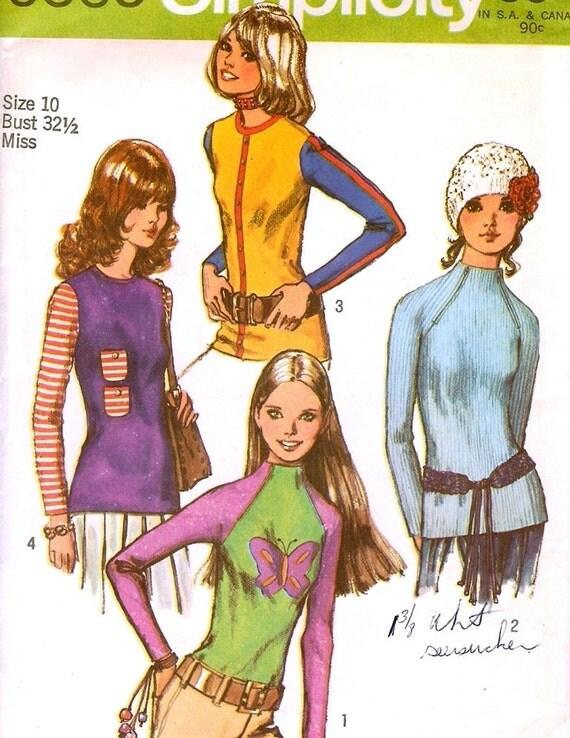 Vintage 1970's Knit Top Pattern T-Shirt Size 10 Simplicity 9560