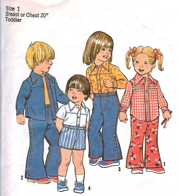 Vintage Toddler Pattern Bell Bottom Pants Shirt Shorts Size 1 Simplicity 6779 Free shipping to US