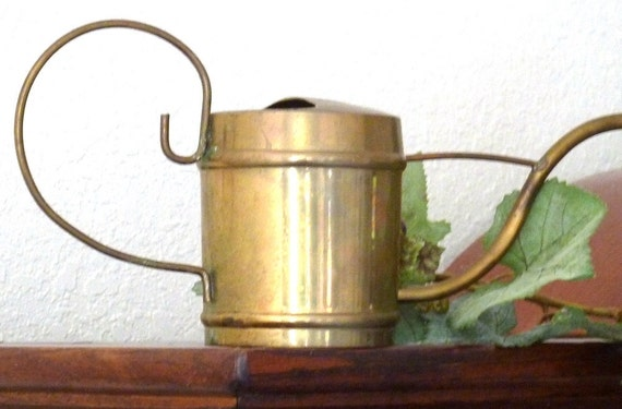 Vintage Brass  Watering Can With Long Thin Spout