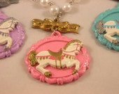 Sweet Lolita Carousel Horse Necklace Available in pink, blue, purple, red, green