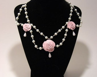 Pink Rose and Pearl Necklace Classic lolita Princess Necklace