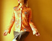 vintage blouse tangerine orange birds flowers 70s blouse