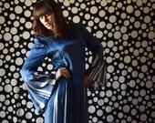 silk dress vintage neiman marcus bell sleeves stripes pleats