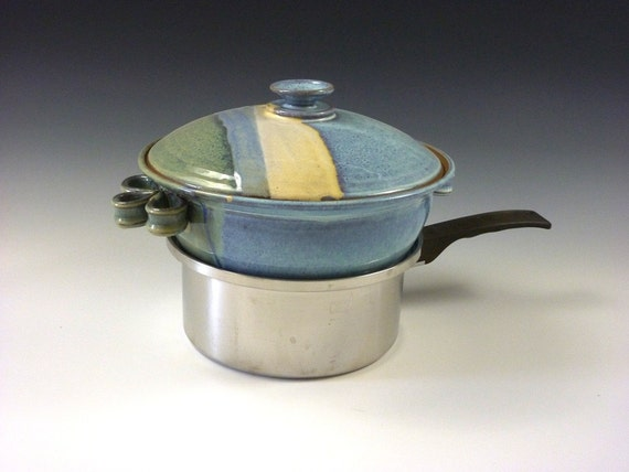 Stoneware Yunnan Steamer 2 5 Qt In Sage And Blue