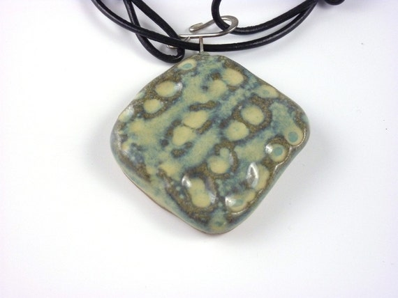 Clearance- 35%off-Square Stoneware Necklace in Sage Green Glaze