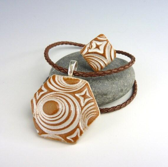 Bold Neutral Optical Art Pendant and Ring Stoneware Jewelry Set