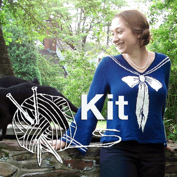 Knitting Kit - Sailor Sweater  - Pattern and Yarn - Blue - Size L