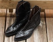 Enzo Angiolini Black Leather Woven Boots size 5.5M