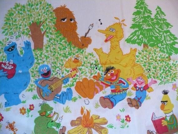 Vintage Sesame Street Pillow Case- Big Bird Cookie Monster Bert and Ernie Campfire