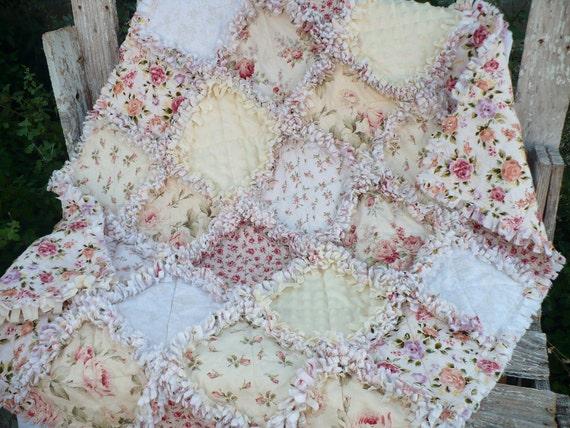 Sweet Baby Girl Rag Quilt -Vintage Shabby Roses on Ivory