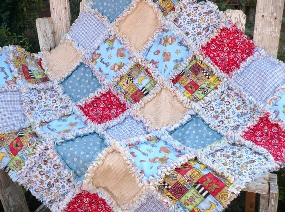 Vintage Cowboy Baby Boy Rag Quilt- Red and Blue Horses Stars