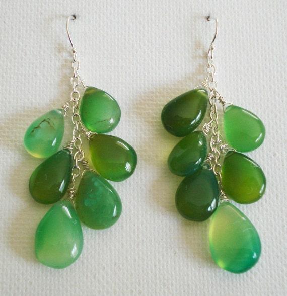 Green Chalcedony Cluster Earrings