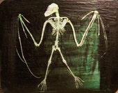 TAXIDERMY ART/ Bat Skeleton Foot Stool/ Wood Crafted Gothic Noir Art