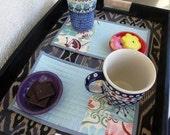 Set of 2 blue mug rugs