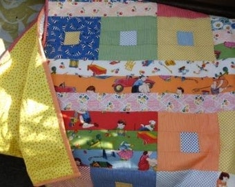 Primary colors toddler quilt