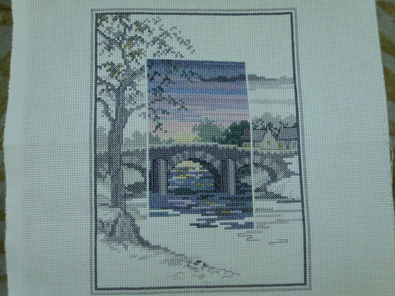 Quaint Village and bridge cross stitch