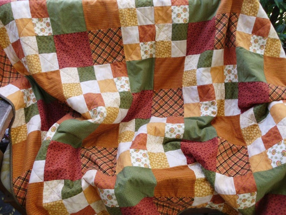 Snuggly four patch flannel quilt