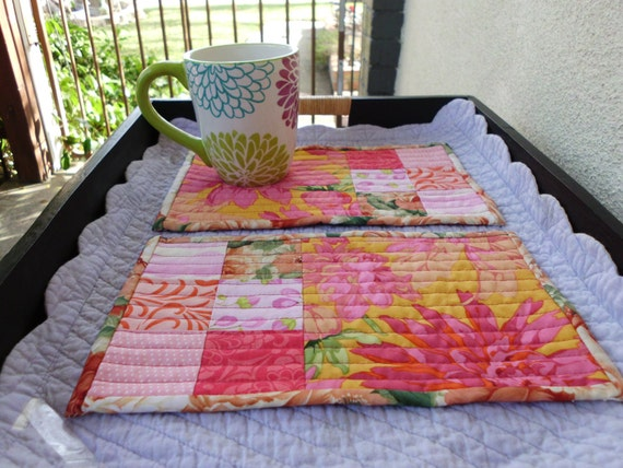 Bright tropical mug rugs