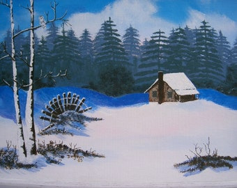 Cabin in Snow with Owl free shipping