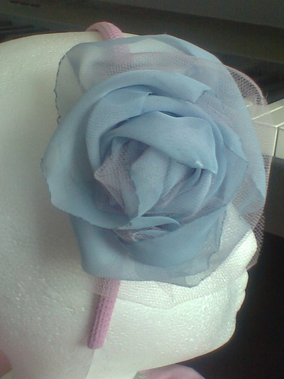 Shabby Fabric Rose Brooch  Headband Ornament Lavender Pink Blue