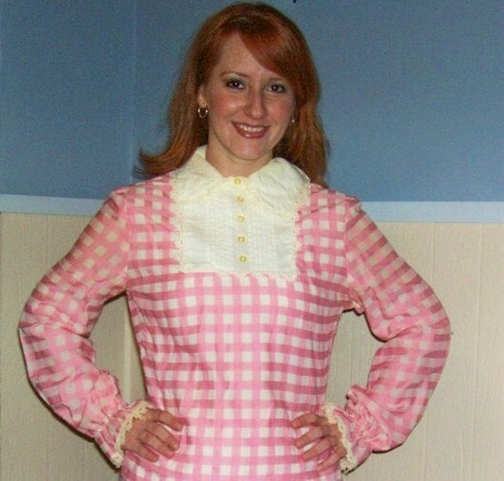 60s Babydoll Pink Gingham Bib Blouse SMALL