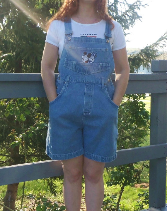 SALE 80s/90s Mickey & Minnie Mouse Short Overalls SMALL