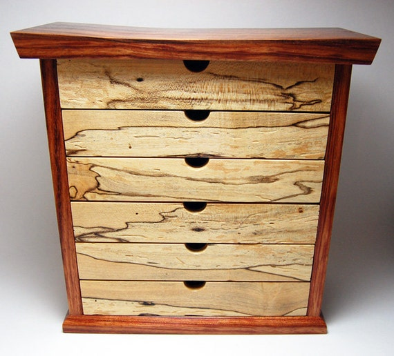 Jewelry Box / Chest - Bubinga and Spalted Maple - Handmade
