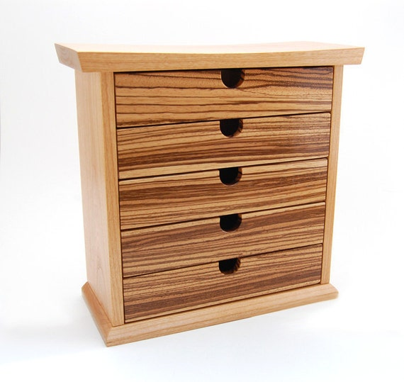 Cherry and Zebrawood Jewelry Box / Chest