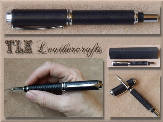 Handmade Natural Leather Baron Rollerball Pen wrapped in Black Leather hand-stitched, Chrome plated