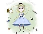 Alice in Wonderland Illustration - 5x7 Print