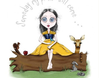 Snow White Illustration - 5x7 Print