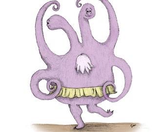 Twirl - 8.5 x 11 Dancing Monster Print