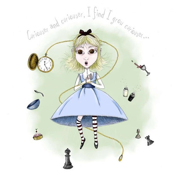 Alice in Wonderland Illustration - 8.5 x 11 Print